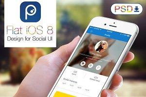 6 FLat Social App Design UI Mockup