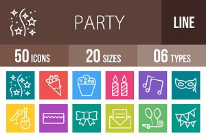50 Party Line Multicolor Icons