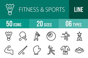 50 Fitness & Sports Line Icons