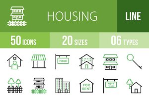 50 Housing Green & Black Icons