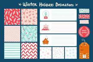 Winter holidays decorations set