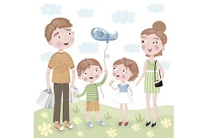 Family Shopping in vector cartoon st