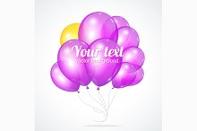 Violet Balloons Template for Text