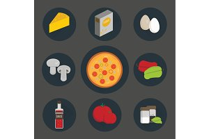 Icons set of process cooking pizza.