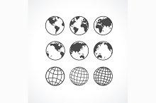 Globe Icon Set. Vector