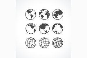 Globe Icon Set. Vector