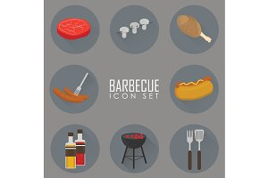 Icons set of Barbecue Grill