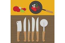 Kitchen utensils on the table