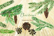 Winter Christmas Watercolor Clipart