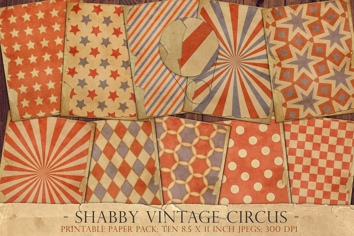 Vintage circus junk journal sheets