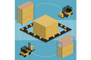 Warehouse infographic illustration.