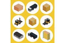 Warehouse icon set. Isometric vector