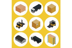 Warehouse icon set. Isometric vector