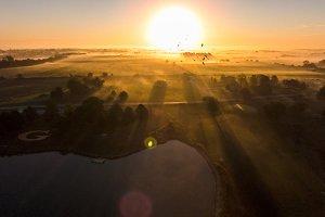 Aerial foggy sunrise