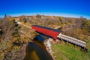 Aerial view fall covered bridge