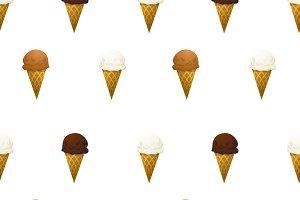 Ice cream cone on white pattern