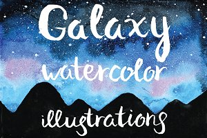 Galaxy watercolor illustrations set
