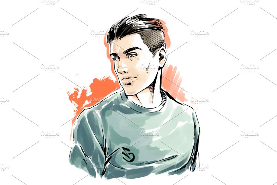 Man portrait, male face, vector in Illustrations - product preview 1