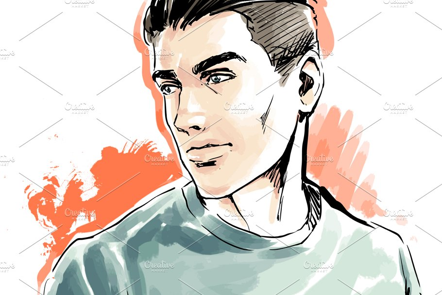 Man portrait, male face, vector in Illustrations