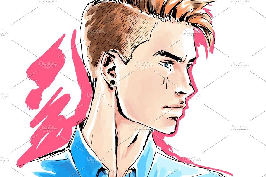 Man portrait, male face, vector