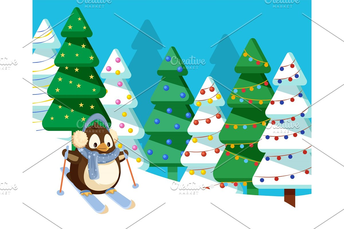 Penguin Skiing in Pine Tree Forest