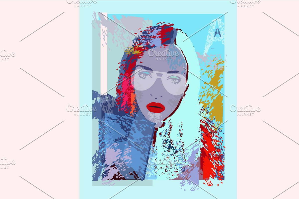 Grunge colorful poster with a girl w