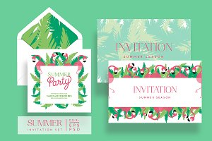 Flamingo Summer Invitation Set