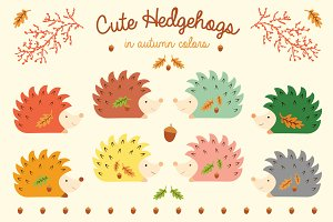 Cute Hedgehogs - in autumn colors