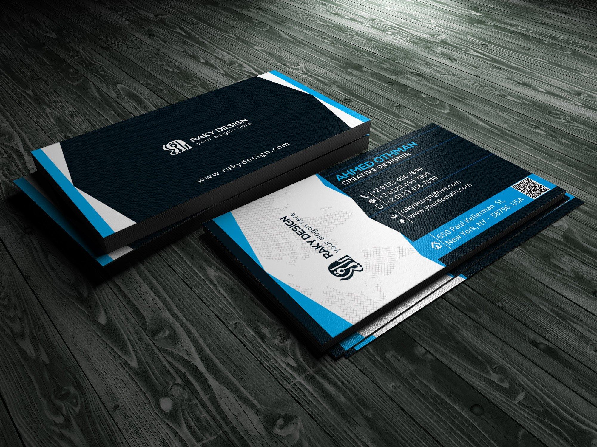 Blue Black business card ~ Business Card Templates ~ Creative Market
