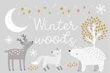 Winter Woods Clipart Patterns