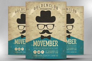 Vintage Movember Party Flyer