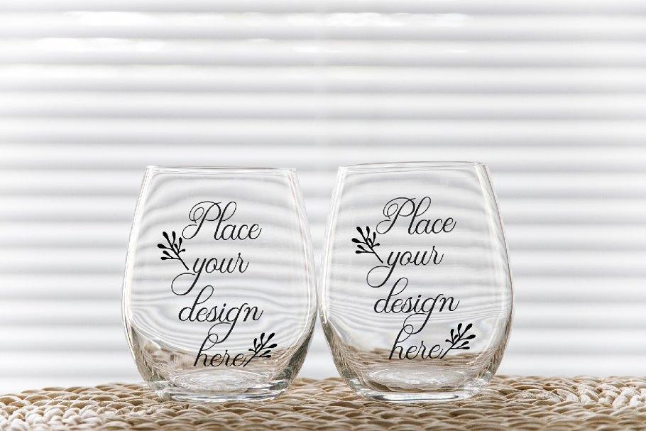 2 tumbler mockup wine glasses psd