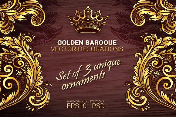 golden baroque vector decorations illustrations creative market