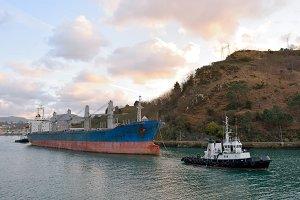 dry bulk ship in harbor