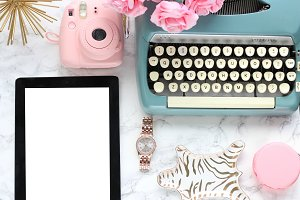 Blue Typewriter Styled Stock Photo
