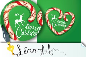 Christmas Frame in candy canes heart