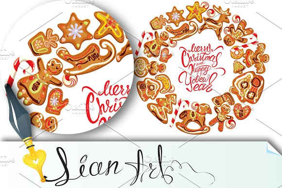 Holiday card. Round frame - Illustrations