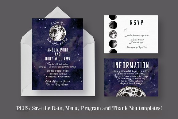 to the moon and back wedding suite invitation templates creative