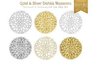 Gold and Silver Dahlia Blossoms