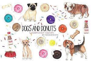 Watercolor Clip Art - Dogs n Donuts