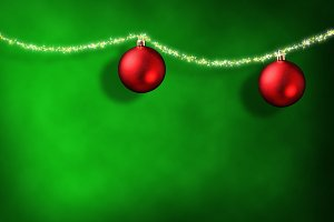 Xmas green background two red balls