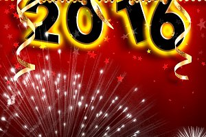 New Year 2016 hanging square