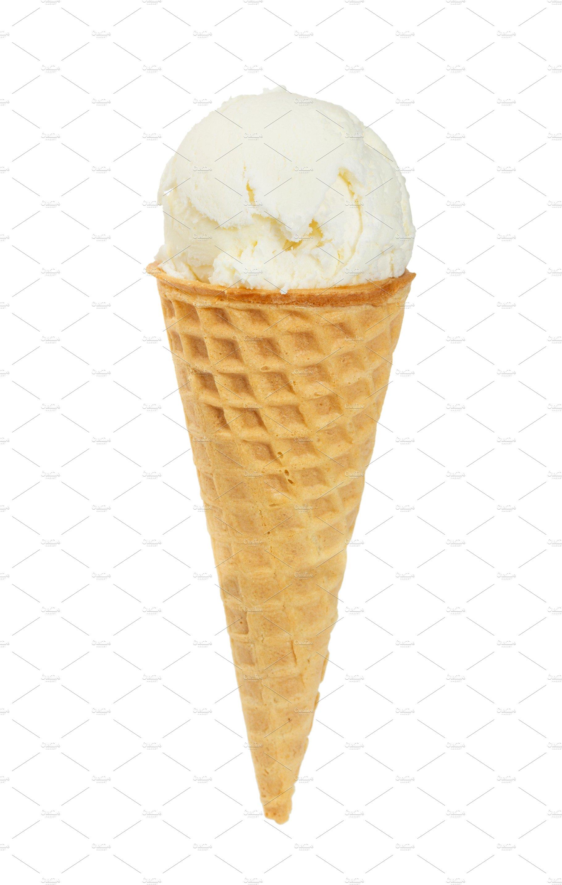 Vanilla ice cream in waffle cone | High-Quality Food ...