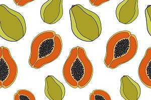 Papaya. Seamless pattern.