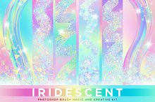 Iridescent & Holographic Brush Magic by  in Photoshop Add-Ons