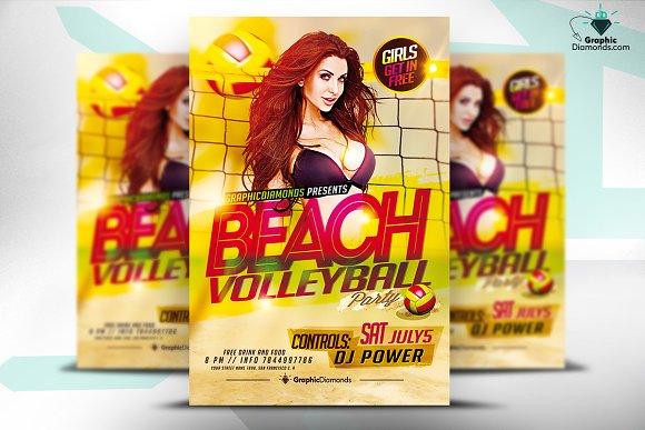 beach volleyball psd flyer flyer templates creative market