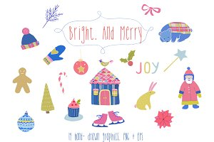 Bright and merry christmas clipart