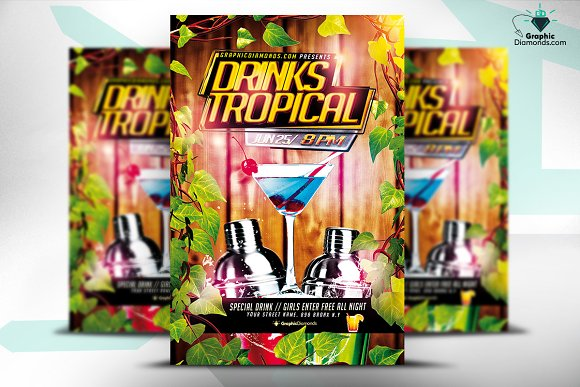 drink tropical psd flyer flyer templates creative market