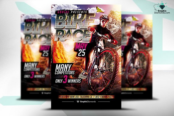 bike race psd flyer flyer templates creative market