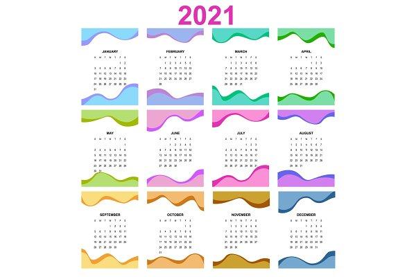 2021 Calendar, Print Template with | Custom-Designed ...